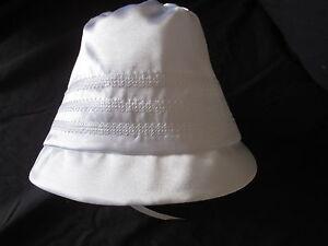 Boys/Girls  White Silk Shantung Christening/Baptism /Wedding Bonnet Size 0-24 M