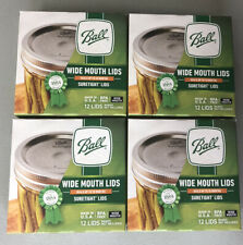 BALL WIDE MOUTH CANNING LIDS 4 Boxes 12 Per Box 48 Total Lids