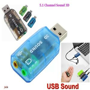 5.1 USB to 3.5mm mic headphone Jack Stereo Headset 3D PC Sound Card Audio Adapta