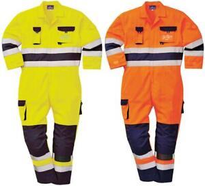 Hi Vis High Visibility TwoTone Texo TX55 Nantes Coverall Overall Knee Pad Pocket