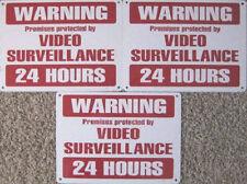 CCTV Security Warning Surveillance Metal 3 Signs Camera Deter Fight Crime Video