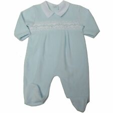 Baby boy Clothes Spanish  Style smocked sleepsuit Blue velour 0 -3 m 3-6m 6-9m