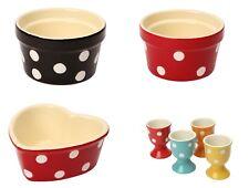 Round & Heart Shaped Polka Ramekins & Egg Cups from Dexam