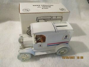 Ertl 1913 Ford Model T Van US Mail Delivery Truck White Metal Coin Bank with box