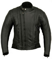 Stealth Motorbike Leather Jacket Motorcycle Protection Double Zip CE Armours