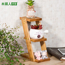 mini bamboo Plant Stand Shelf Holds 3-Flower Pot Planters Holder Stand for table