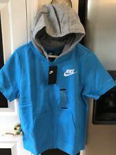 NEW NIKE BOYS BLUE/GRAY SHORT SLEEVED CLUB  ZIP UP HOODIE 908232-010 LARGE