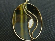 Large 9ct Gold Tigers Eye Diamond Pendant c1977