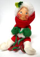 "Annalee Mobilitee Doll Christmas 5"" Child on Sled (Sled Broken) USA 1983"