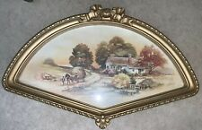 Vintage Home Interiors Country Autumn Scene Print in Fan Shaped Frame #3250