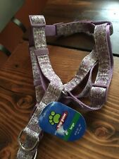 NEW Top Paw Adjustable Dog Harness Purple Dog Paw Design Large 26-38 Girth