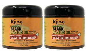2 x Kuza Naturals Jamaican Black Castor Oil Repair Cream Leave in Conditioner
