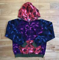 100% authentic Bape Crazy Camo Hoodie L shark purple tiger red blue #758