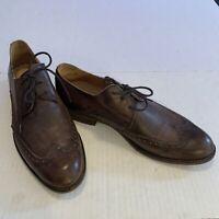 John Varvatos Mens Shoes Distressed Brown Leather Wingtip Oxford Handmade Size 9