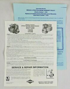 Briggs & Stratton Operating and Maintenance Instructions Model 130200 and 131200