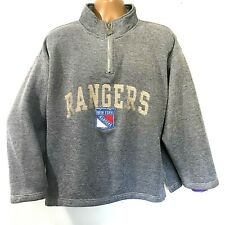 Vintage 90's New York Rangers Sweatshirt Mens XL XXL Pro Player 1/4 Zip Spellout