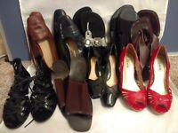 Lot Of 9 Women's Ladies Boots Wedge Flats Heel Sandal Size 7 - 7.5 Natural