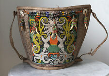 Old INDONESIA Borneo Kenyah beaded baby carrier