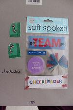Cheerleader Embellishments - soft spoken, brads, clear sticker