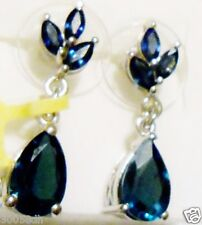 London Blue Topaz Pear & Blue Sapphire Marquise Dangle Earrings, 925, 4.20(TCW)
