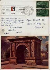 REPUBBLICA-Coppia 6L Risorgimento(583)-I Mostra Filatelica Valdostana 22.12.1949