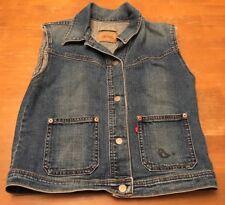 Levis Women's/Junior's Denim Jean Vest SZ Small Butterfly Back EUC Button-Up