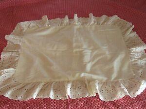 Cottage Shabby Country Ivory Cream Standard Pillow Sham Ruffled Eyelet
