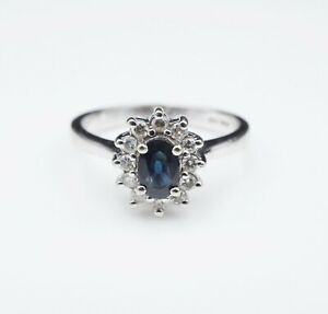 14K White Gold 1ct Oval Natural Sapphire Diamond Halo Ring Size 6.75 RG2491