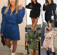 Women's Ladies Puff Sleeve Collared Button Up Tie Belted Denim Mini Dress Top
