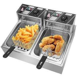 12.7QT/12L Stainless Steel Double Cylinder Electric Deep Fryer with Baskets