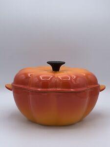 Le Creuset Flame Orange Enameled 2qt Cast Iron Pumpkin - Dutch Oven Casserole