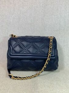 NWT Tory Burch Royal Navy Soft Fleming Small Convertible Shoulder Bag $478
