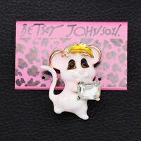 Betsey Johnson Enamel Crystal Cute Little Mouse Charm Anlmal Brooch Pin Gift