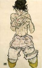 Egon Schiele Reproductions: Kneeling Semi-Nude - Fine Art Print