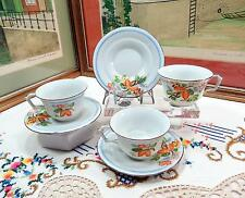 """3 KIKUSUI CHINA  MADE IN JAPAN BLUE STRIPE AND FLORAL 2 1/8"""" CUP & SAUCER SETS"""
