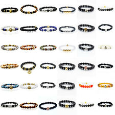 Wholesale 24 Piece Charm Men's 8MM Varieties Beaded Stretch Fashion Bracelets