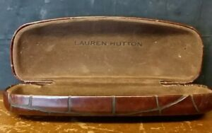 Lauren Hutton Africa Crocodile Skin Eyeglass Case Clamshell Clam Shell