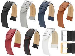 MARCHEL Lederarmband LLB Premium Glatt Silber Gold Schließe Uhrenarmband Uhr