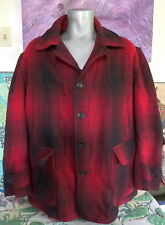 30's 40's Vtg A Malone Coat Ballard & Co. Shadow Plaid Wool Mackinaw Jacket Xl