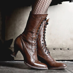 Ladies Retro Round Toe Mid-Calf Boots Women Kitten Heels Lace Up Riding Shoes
