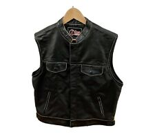 Mens Leather And Nylon Motorcycle Vest
