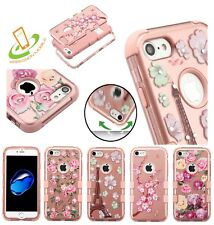 For iPhone 8 7 /Plus TUFF HYBRID Impact Armor Rubber Rugged Case 2D Flower Cover