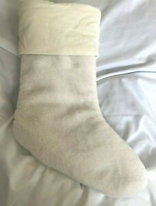 Pottery Barn Faux Fur Plush Stockings White MEDIUM New