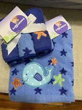 New listing Nwt Babies R Us Infant Baby Towel 6 Washcloth Set Appliqué Whale Starfish