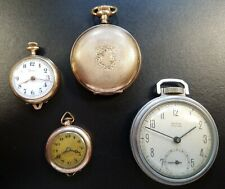 LOT OF POCKET WATCHES FOR PARTS ONLY, GRACE, ELGIN, WESTCLOK, HAFIS SWISS