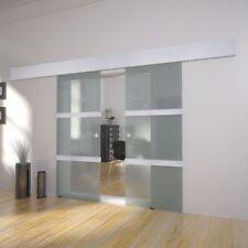 Doppel Glasschiebetür Schiebetür Zimmertür Glastür Tür 2x (2050 x 750 mm) Alu