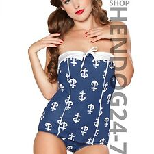 e66bebb0a9b931 BETTIE PAGE AHOY 1950 S PIN-UP NAVY WHITE ANCHORS SWIMSUIT MSRP  98 PLUS  SIZE
