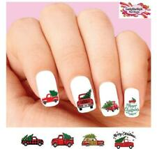 Waterslide Nail Decals Set of 20 - Red Merry Christmas Tree Truck Assorted