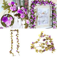 SHABBY CHIC PINK ROSE GARLAND FLOWER VINTAGE STYLE WEDDING STRING BEDROOM Purple