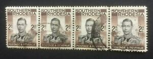 SOUTHERN RHODESIA 1937 DEFINS SG50 USED STRIP OF 4